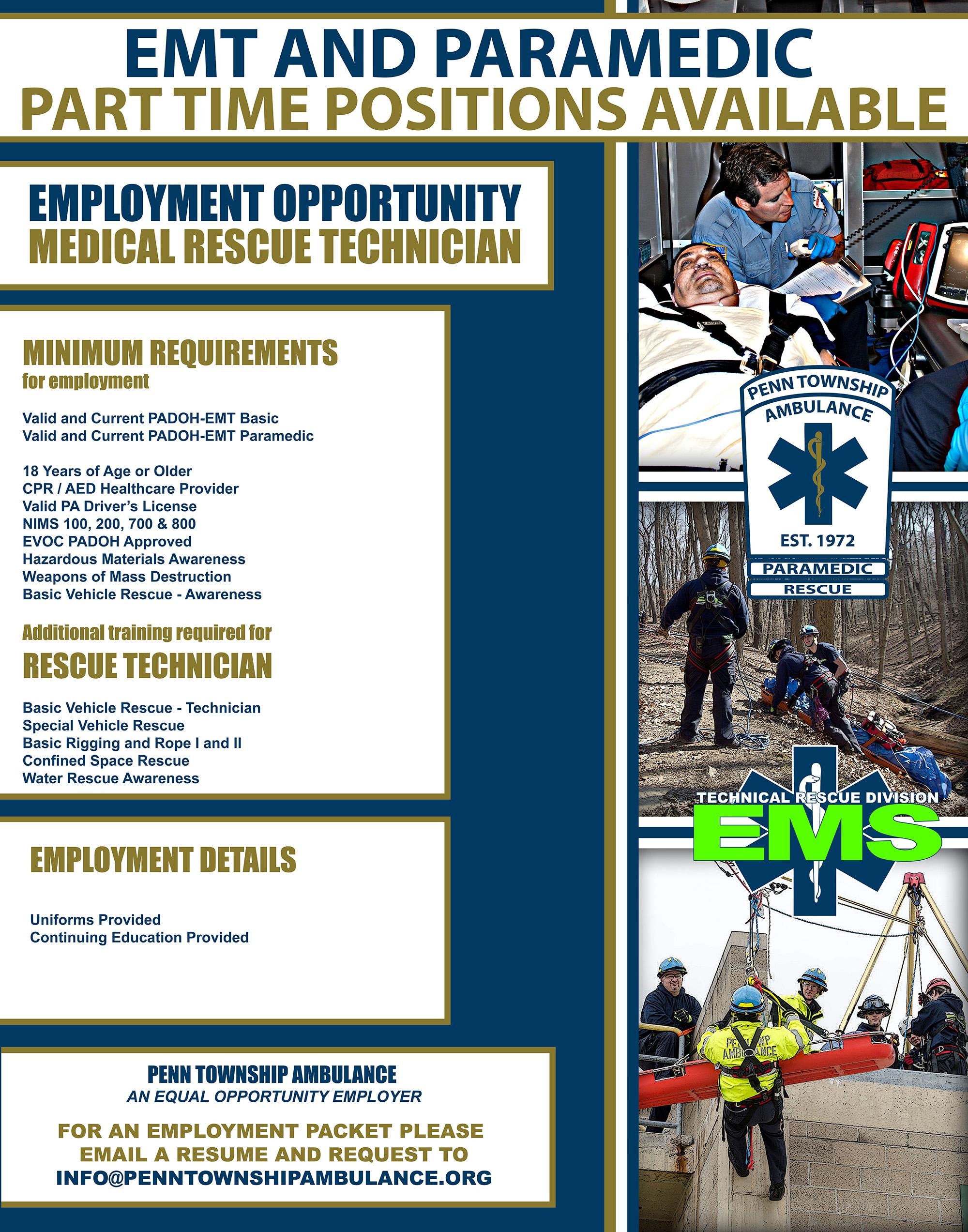 Employment Opportunities | Penn Township Ambulance